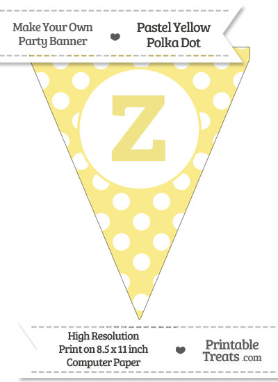 Pastel Yellow Polka Dot Pennant Flag Lowercase Letter Z from PrintableTreats.com