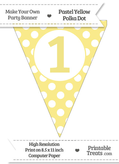 Pastel Yellow Polka Dot Pennant Flag Number 1 from PrintableTreats.com
