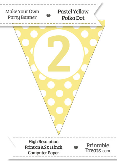Pastel Yellow Polka Dot Pennant Flag Number 2 from PrintableTreats.com