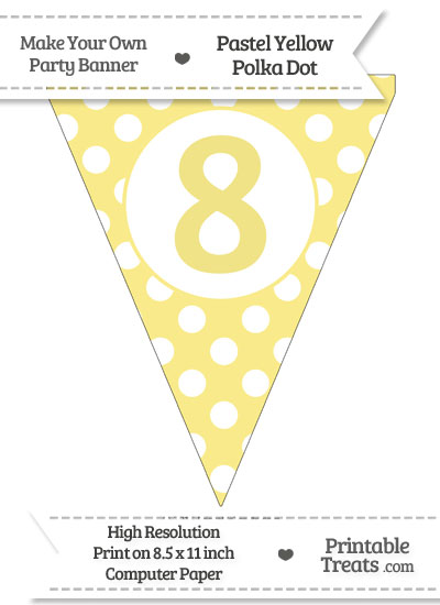 Pastel Yellow Polka Dot Pennant Flag Number 8 from PrintableTreats.com