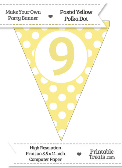 Pastel Yellow Polka Dot Pennant Flag Number 9 from PrintableTreats.com