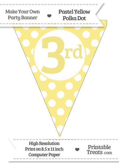 Pastel Yellow Polka Dot Pennant Flag Ordinal Number 3rd from PrintableTreats.com