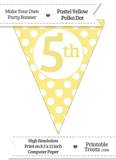 Pastel Yellow Polka Dot Pennant Flag Ordinal Number 5th from PrintableTreats.com