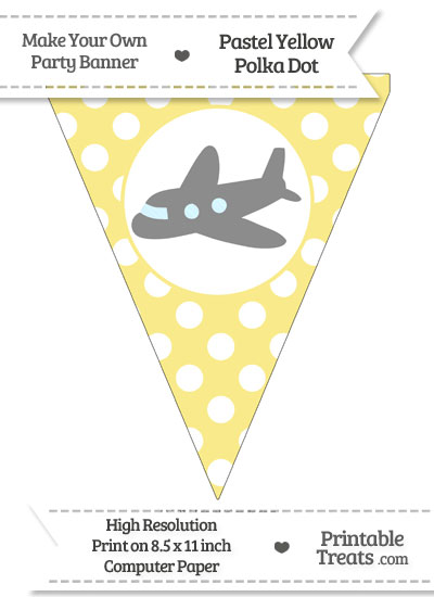 Pastel Yellow Polka Dot Pennant Flag with Airplane Facing Left Download from PrintableTreats.com