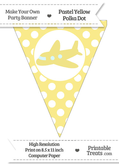 Pastel Yellow Polka Dot Pennant Flag with Airplane Facing Left from PrintableTreats.com