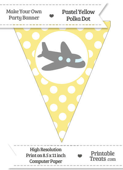 Pastel Yellow Polka Dot Pennant Flag with Airplane Facing Right Download from PrintableTreats.com