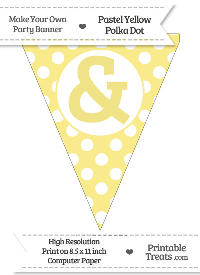 Pastel Yellow Polka Dot Pennant Flag with Ampersand from PrintableTreats.com