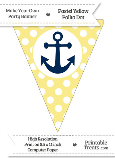 Pastel Yellow Polka Dot Pennant Flag with Anchor Download from PrintableTreats.com