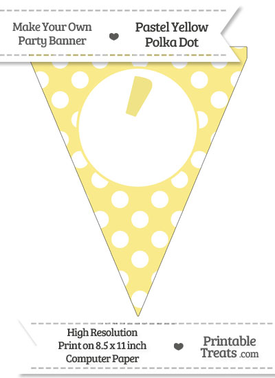 Pastel Yellow Polka Dot Pennant Flag with Apostrophe from PrintableTreats.com