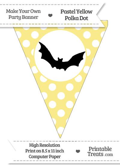 Pastel Yellow Polka Dot Pennant Flag with Bat Download from PrintableTreats.com
