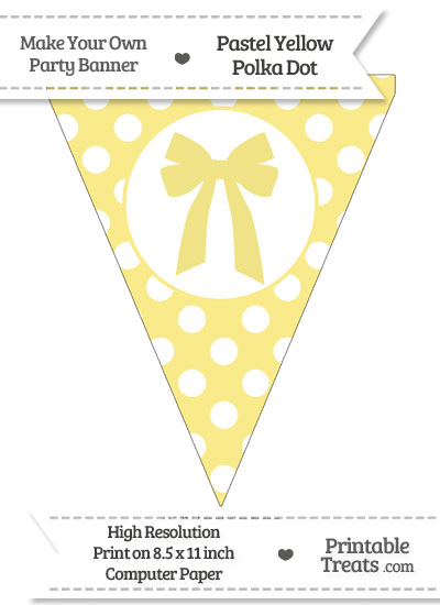 Pastel Yellow Polka Dot Pennant Flag with Bow from PrintableTreats.com