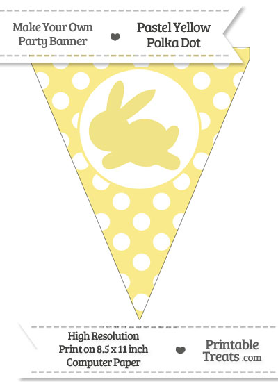 Pastel Yellow Polka Dot Pennant Flag with Bunny Facing Left from PrintableTreats.com