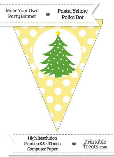 Pastel Yellow Polka Dot Pennant Flag with Christmas Tree Download from PrintableTreats.com