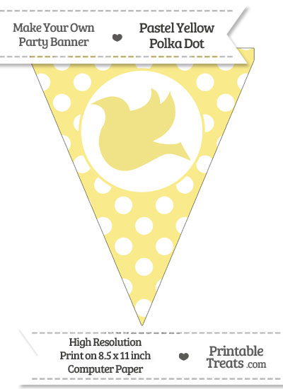 Pastel Yellow Polka Dot Pennant Flag with Dove Facing Left from PrintableTreats.com