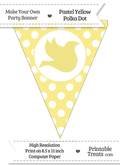 Pastel Yellow Polka Dot Pennant Flag with Dove Facing Right from PrintableTreats.com