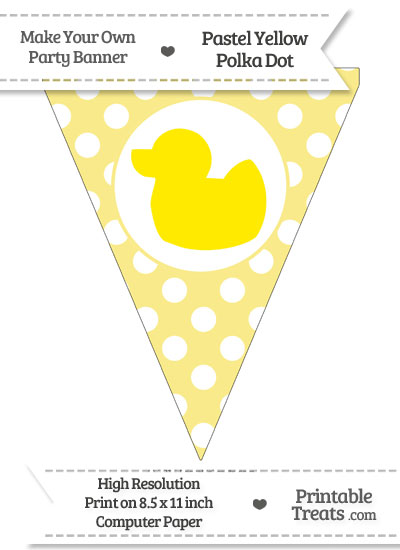 Pastel Yellow Polka Dot Pennant Flag with Duck Facing Left Download from PrintableTreats.com