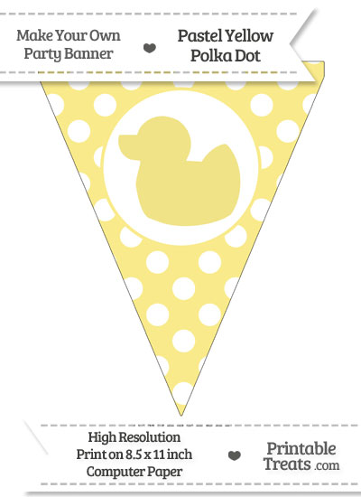 Pastel Yellow Polka Dot Pennant Flag with Duck Facing Left from PrintableTreats.com
