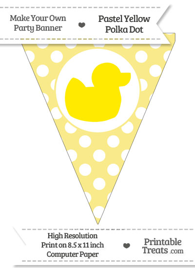 Pastel Yellow Polka Dot Pennant Flag with Duck Facing Right Download from PrintableTreats.com