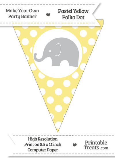 Pastel Yellow Polka Dot Pennant Flag with Elephant Facing Left Download from PrintableTreats.com