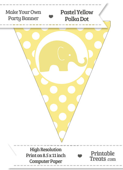 Pastel Yellow Polka Dot Pennant Flag with Elephant Facing Right from PrintableTreats.com
