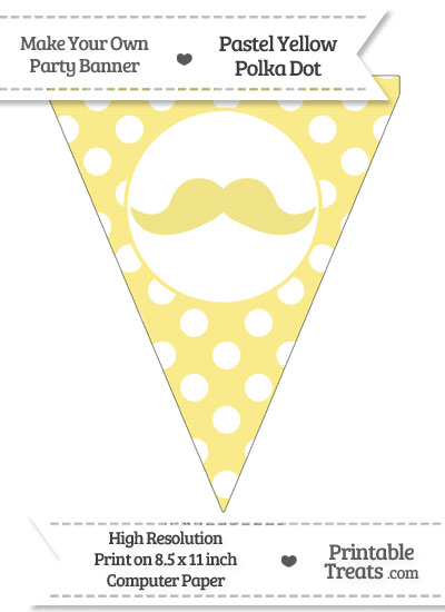 Pastel Yellow Polka Dot Pennant Flag with English Mustache from PrintableTreats.com