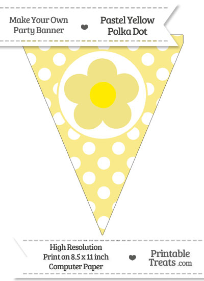 Pastel Yellow Polka Dot Pennant Flag with Flower from PrintableTreats.com