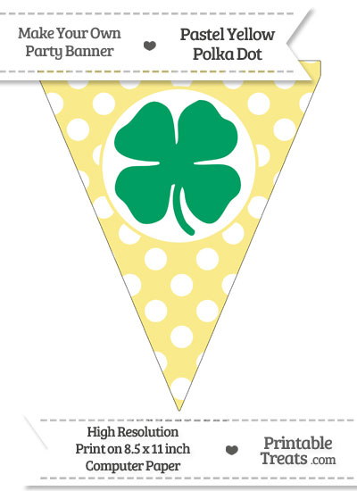 Pastel Yellow Polka Dot Pennant Flag with Four Leaf Clover Facing Left Download from PrintableTreats.com