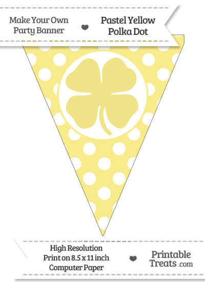 Pastel Yellow Polka Dot Pennant Flag with Four Leaf Clover Facing Left from PrintableTreats.com