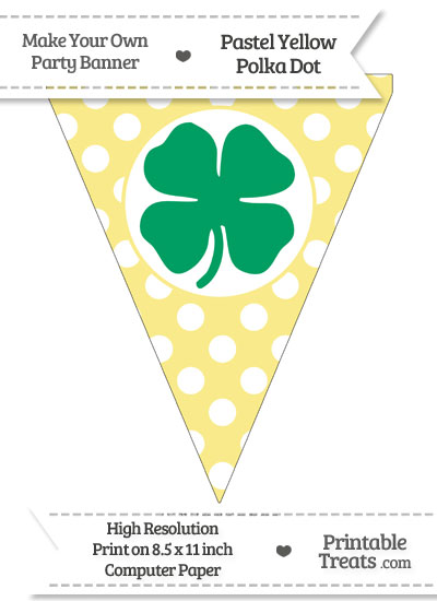 Pastel Yellow Polka Dot Pennant Flag with Four Leaf Clover Facing Right Download from PrintableTreats.com