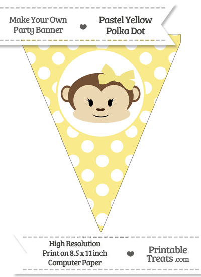 Pastel Yellow Polka Dot Pennant Flag with Girl Monkey from PrintableTreats.com
