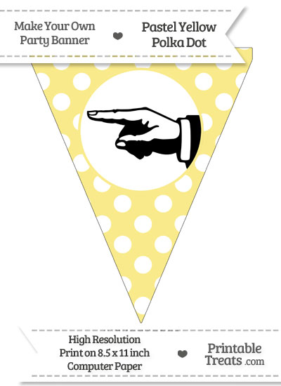 Pastel Yellow Polka Dot Pennant Flag with Hand Pointing Left Download from PrintableTreats.com