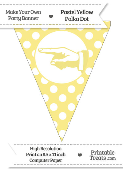 Pastel Yellow Polka Dot Pennant Flag with Hand Pointing Left from PrintableTreats.com