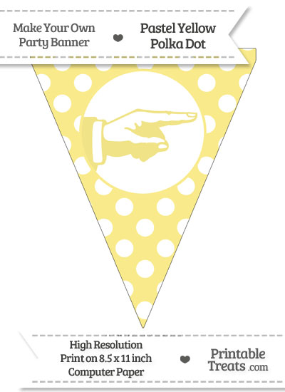 Pastel Yellow Polka Dot Pennant Flag with Hand Pointing Right from PrintableTreats.com