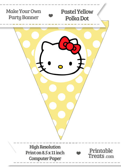 Pastel Yellow Polka Dot Pennant Flag with Hello Kitty Download from PrintableTreats.com