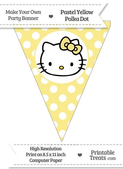 Pastel Yellow Polka Dot Pennant Flag with Hello Kitty from PrintableTreats.com