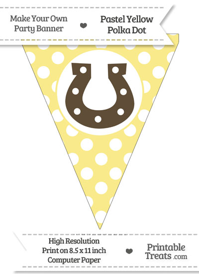 Pastel Yellow Polka Dot Pennant Flag with Horseshoe Download from PrintableTreats.com