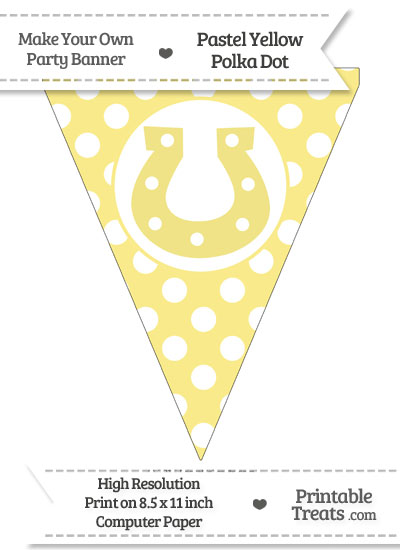 Pastel Yellow Polka Dot Pennant Flag with Horseshoe from PrintableTreats.com