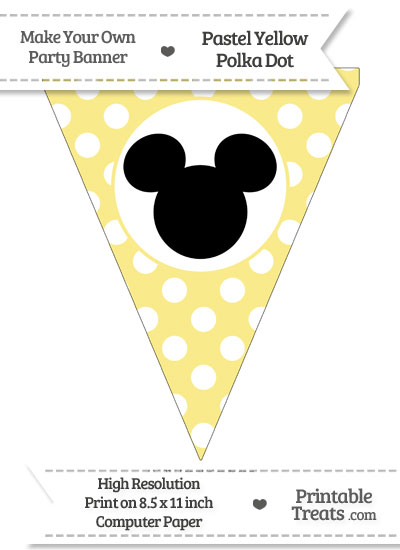 Pastel Yellow Polka Dot Pennant Flag with Mickey Mouse Download from PrintableTreats.com