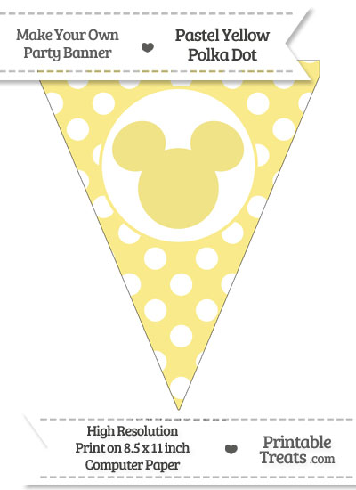 Pastel Yellow Polka Dot Pennant Flag with Mickey Mouse from PrintableTreats.com