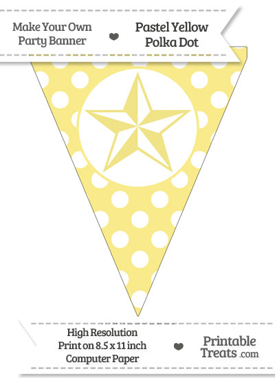 Pastel Yellow Polka Dot Pennant Flag with Nautical Star from PrintableTreats.com