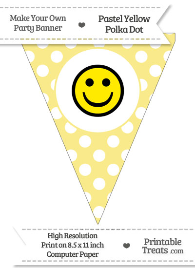 Pastel Yellow Polka Dot Pennant Flag with Smiley Face Download from PrintableTreats.com