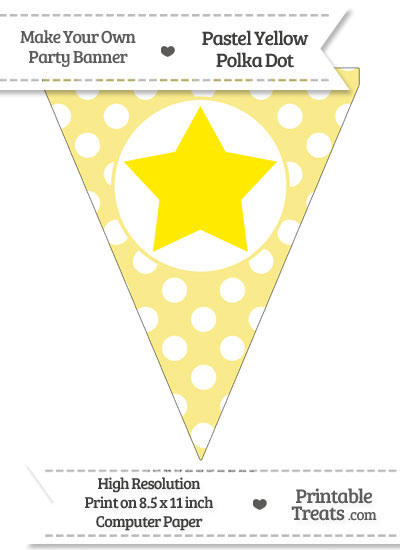 Pastel Yellow Polka Dot Pennant Flag with Star Download from PrintableTreats.com