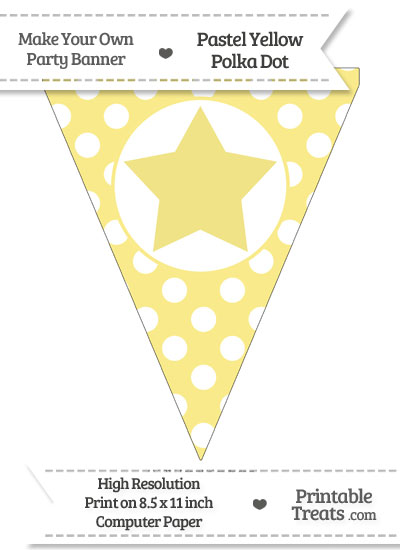 Pastel Yellow Polka Dot Pennant Flag with Star from PrintableTreats.com