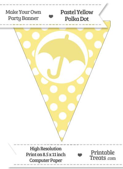 Pastel Yellow Polka Dot Pennant Flag with Umbrella from PrintableTreats.com