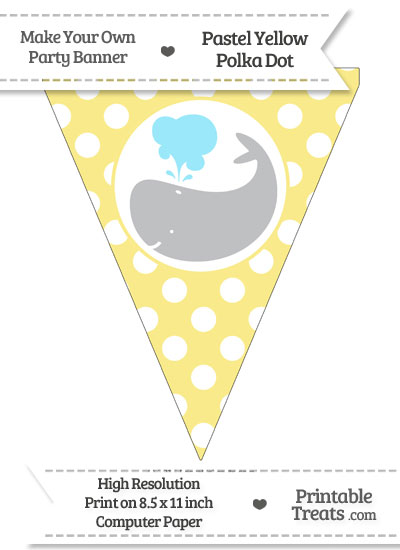 Pastel Yellow Polka Dot Pennant Flag with Whale Facing Left Download from PrintableTreats.com