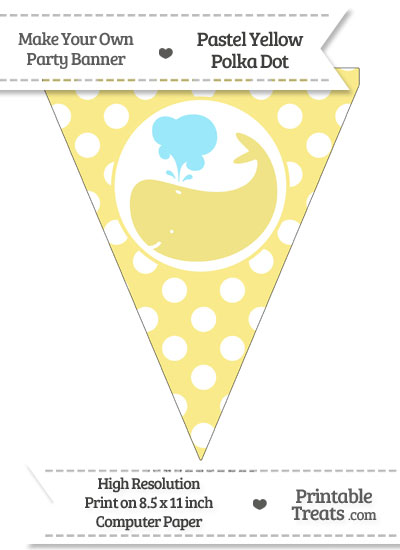 Pastel Yellow Polka Dot Pennant Flag with Whale Facing Left from PrintableTreats.com