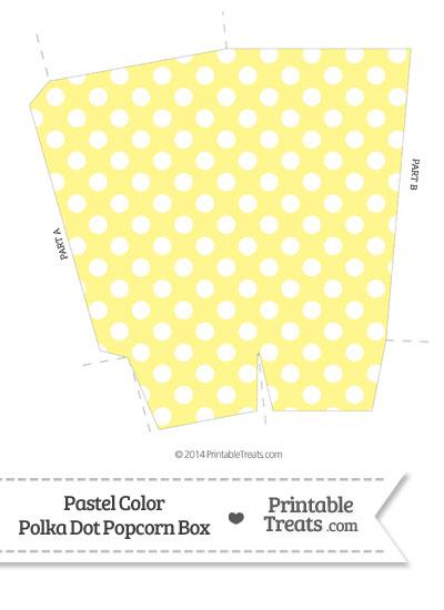 Pastel Yellow Polka Dot Popcorn Box from PrintableTreats.com