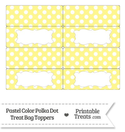 Pastel Yellow Polka Dot Treat Bag Toppers from PrintableTreats.com