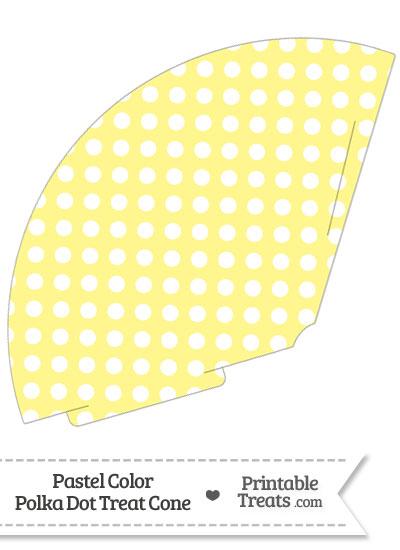 Pastel Yellow Polka Dot Treat Cone from PrintableTreats.com