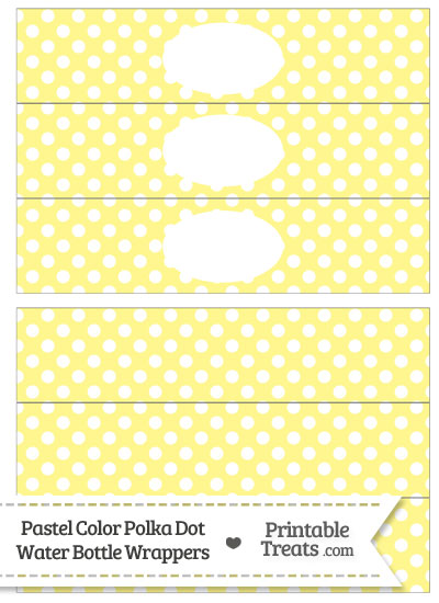 Pastel Yellow Polka Dot Water Bottle Wrappers from PrintableTreats.com